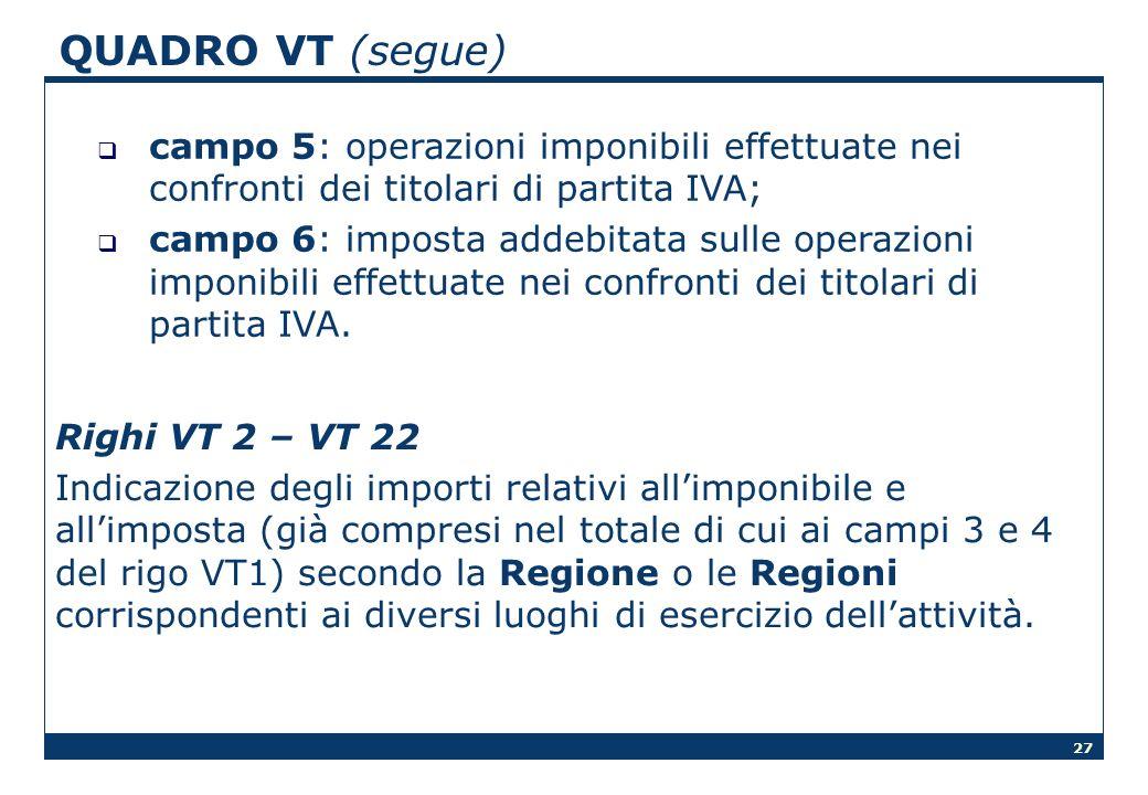 QUADRO VT (segue) campo 5: operazioni imponibili effettuate nei confronti dei titolari di partita IVA;