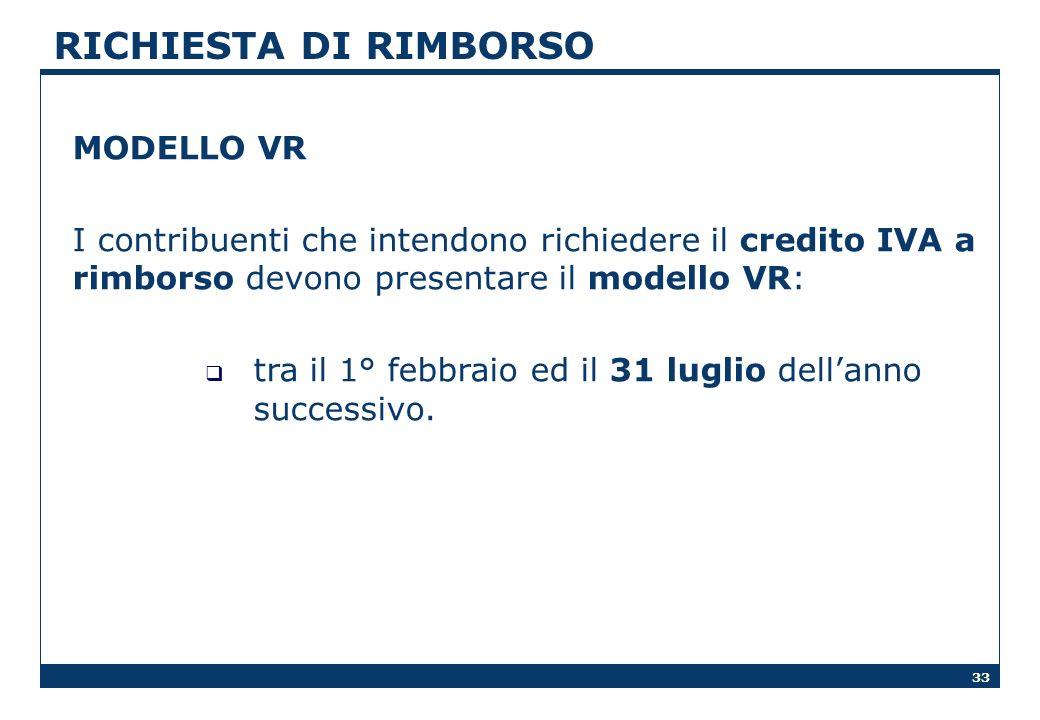 RICHIESTA DI RIMBORSO MODELLO VR