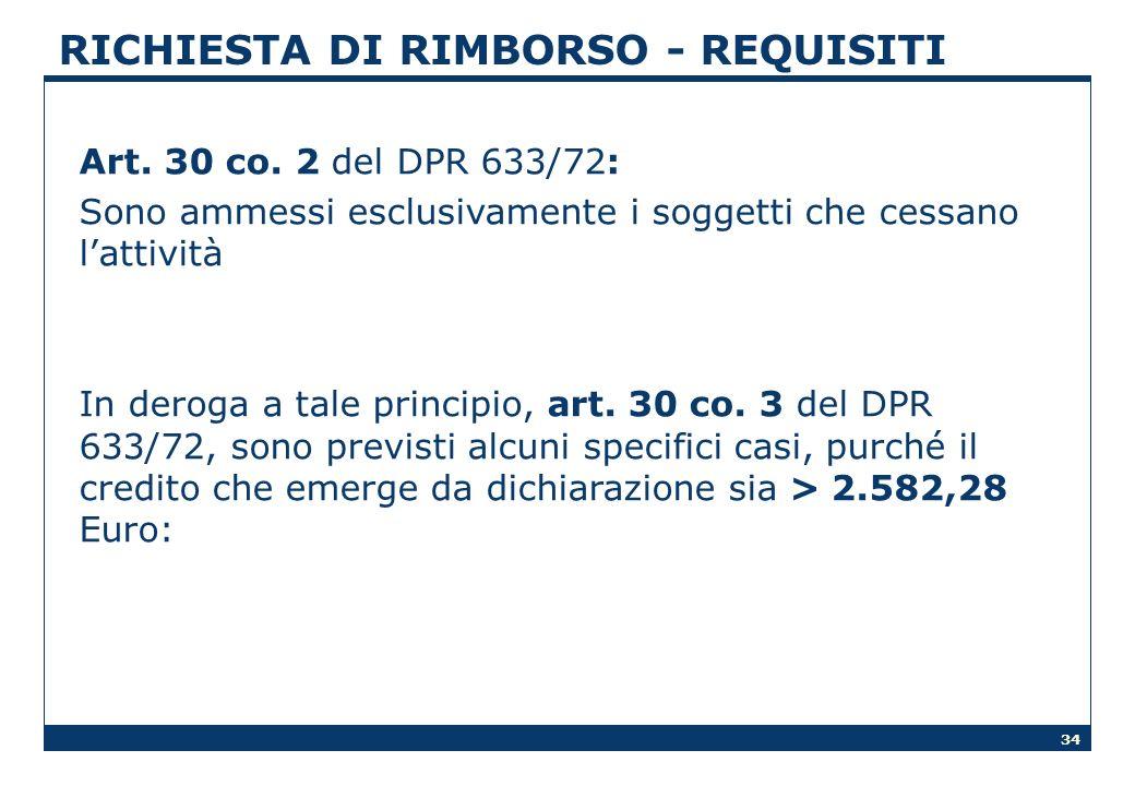 RICHIESTA DI RIMBORSO - REQUISITI