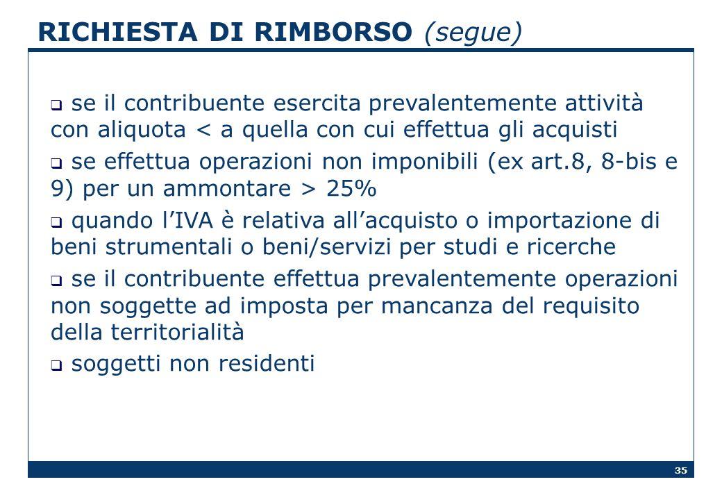 RICHIESTA DI RIMBORSO (segue)