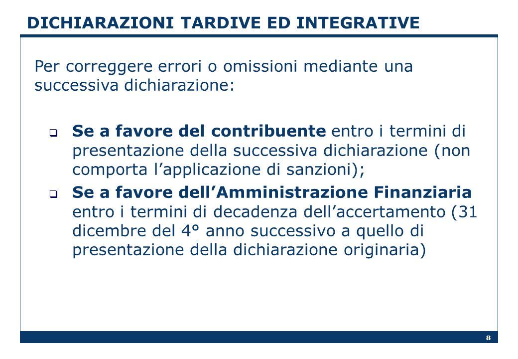 DICHIARAZIONI TARDIVE ED INTEGRATIVE
