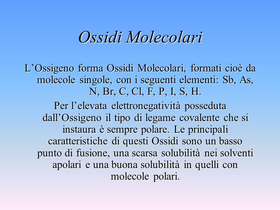 Ossidi Molecolari L'Ossigeno forma Ossidi Molecolari, formati cioè da molecole singole, con i seguenti elementi: Sb, As, N, Br, C, Cl, F, P, I, S, H.