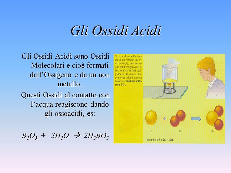 Gli Ossidi Acidi Gli Ossidi Acidi sono Ossidi Molecolari e cioè formati dall'Ossigeno e da un non metallo.