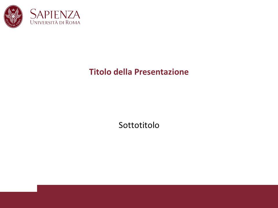 Titolo della Presentazione