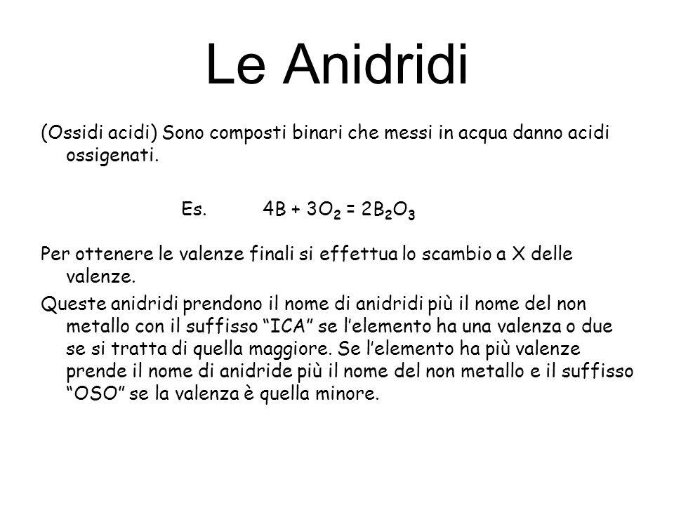 Le Anidridi (Ossidi acidi) Sono composti binari che messi in acqua danno acidi ossigenati. Es. 4B + 3O2 = 2B2O3.