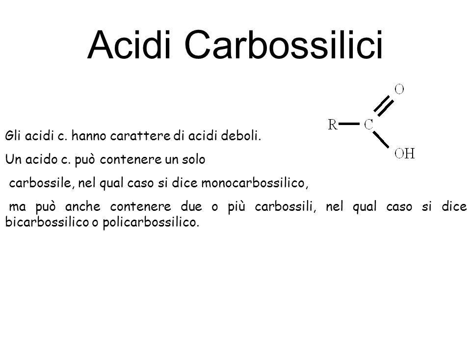 Acidi Carbossilici Gli acidi c. hanno carattere di acidi deboli.