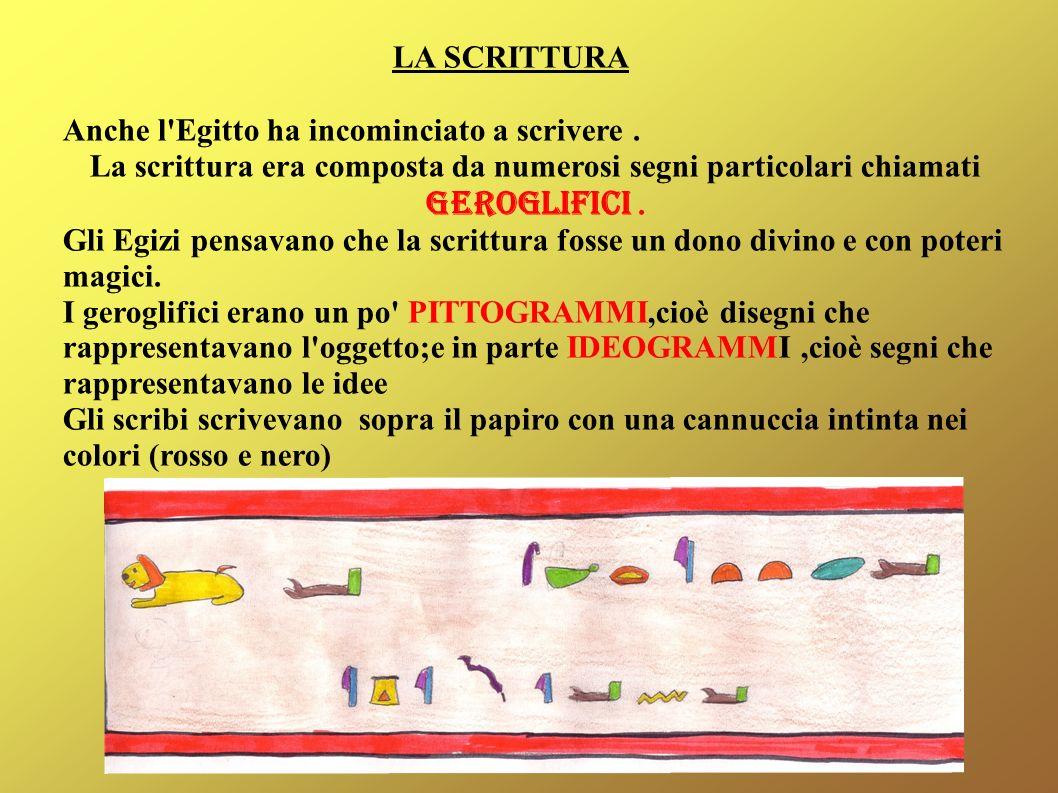LA SCRITTURA Anche l Egitto ha incominciato a scrivere . La scrittura era composta da numerosi segni particolari chiamati GEROGLIFICI .