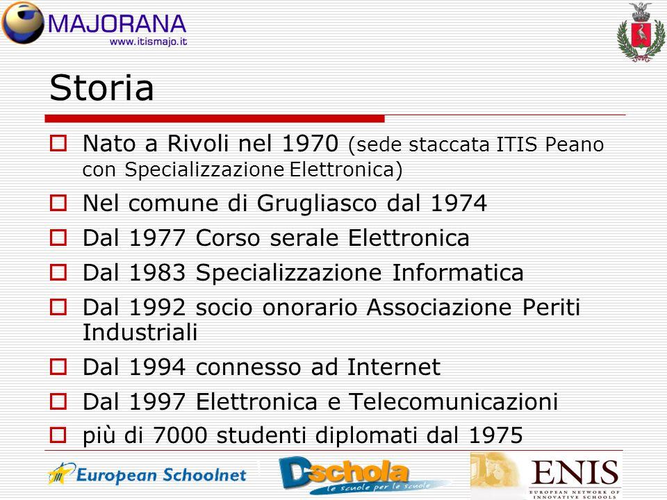 Storia Nato a Rivoli nel 1970 (sede staccata ITIS Peano con Specializzazione Elettronica) Nel comune di Grugliasco dal 1974.