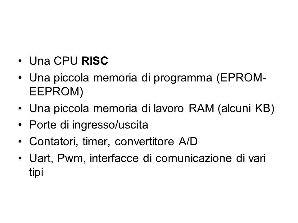 Una CPU RISC Una piccola memoria di programma (EPROM-EEPROM) Una piccola memoria di lavoro RAM (alcuni KB)