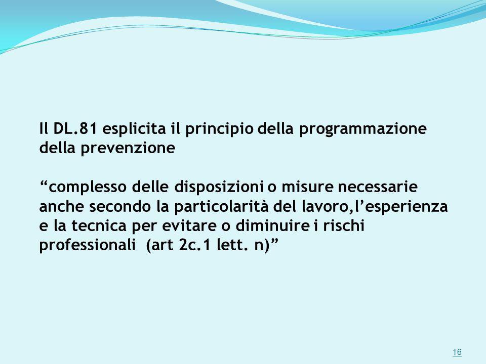 Il DL.81 esplicita il principio della programmazione della prevenzione