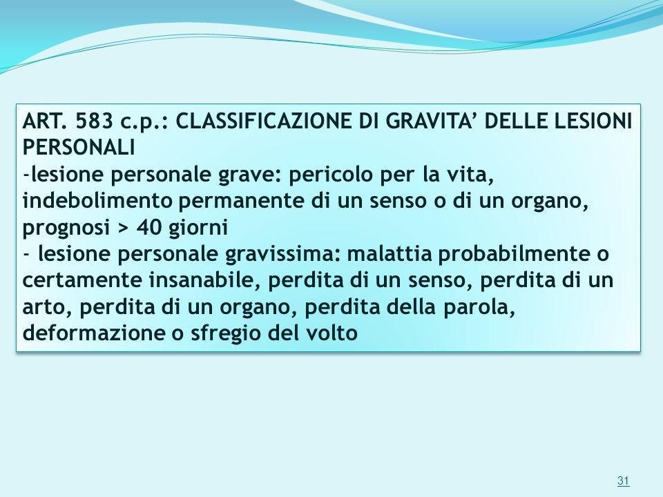 ART. 583 c.p.: CLASSIFICAZIONE DI GRAVITA' DELLE LESIONI PERSONALI