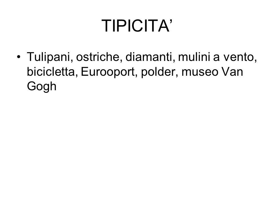 TIPICITA'Tulipani, ostriche, diamanti, mulini a vento, bicicletta, Eurooport, polder, museo Van Gogh.