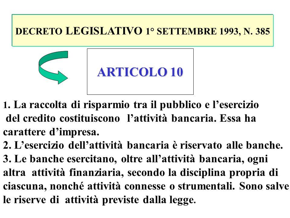 DECRETO LEGISLATIVO 1° SETTEMBRE 1993, N. 385