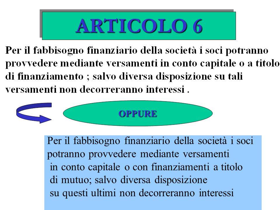 ARTICOLO 6 Per il fabbisogno finanziario della società i soci