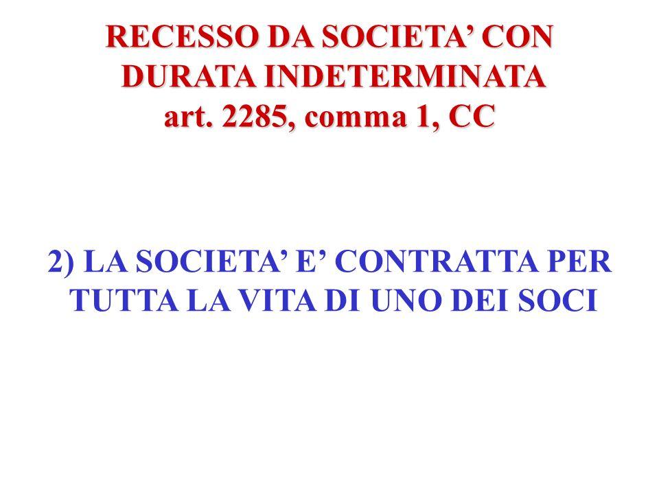 RECESSO DA SOCIETA' CON DURATA INDETERMINATA art. 2285, comma 1, CC