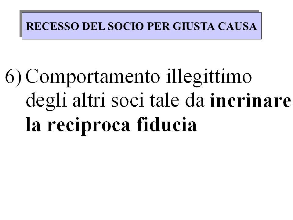RECESSO DEL SOCIO PER GIUSTA CAUSA