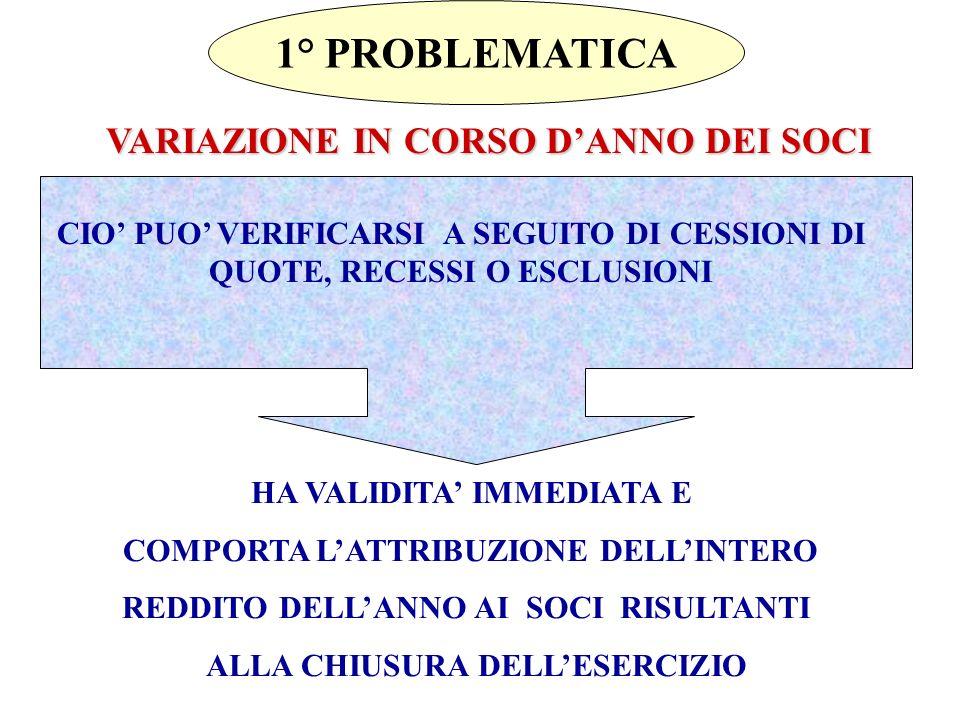 1° PROBLEMATICA VARIAZIONE IN CORSO D'ANNO DEI SOCI
