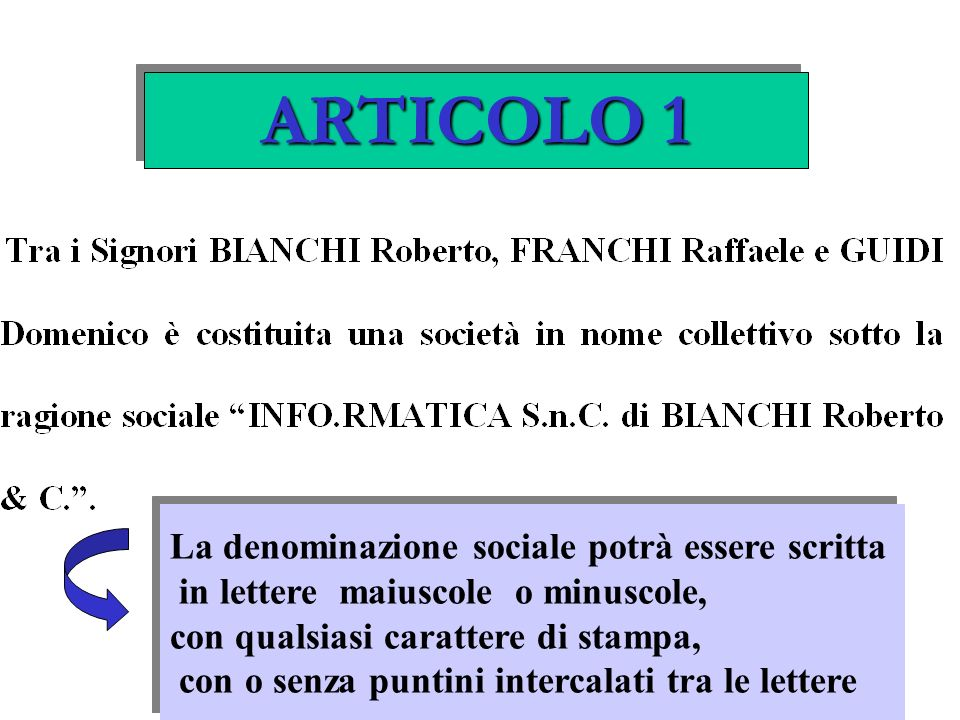 ARTICOLO 1 La denominazione sociale potrà essere scritta