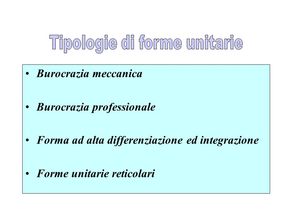Tipologie di forme unitarie