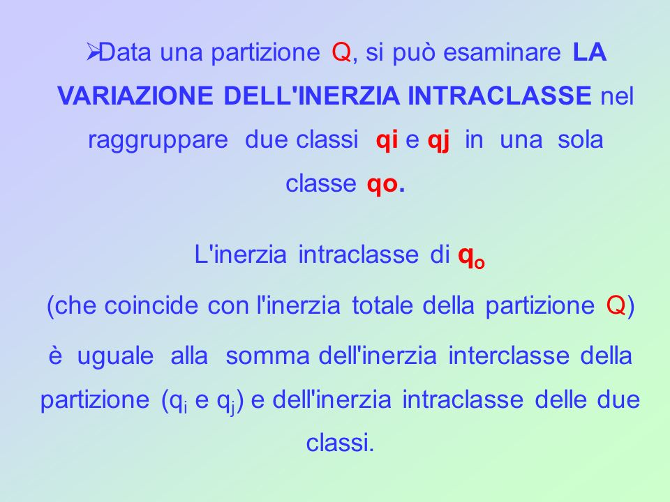 L inerzia intraclasse di qo