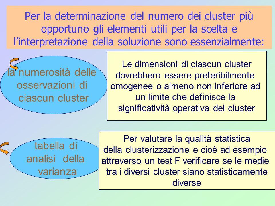 Per la determinazione del numero dei cluster più opportuno gli elementi utili per la scelta e l'interpretazione della soluzione sono essenzialmente: