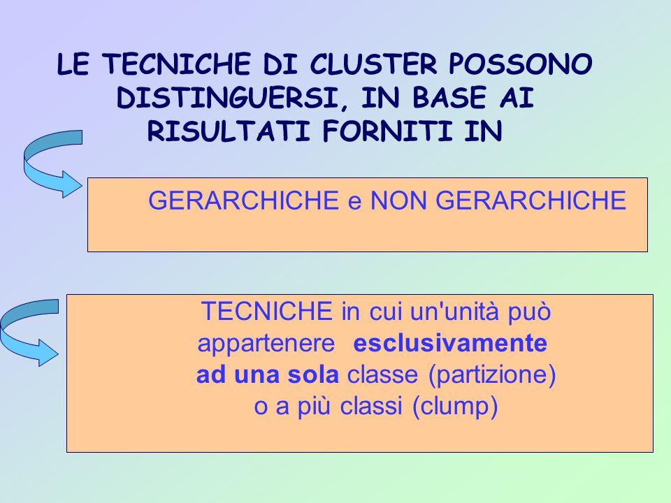 LE TECNICHE DI CLUSTER POSSONO DISTINGUERSI, IN BASE AI RISULTATI FORNITI IN