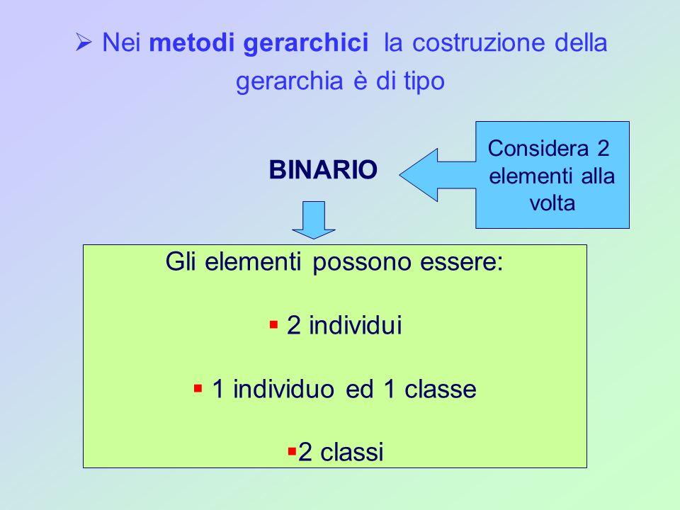 Nei metodi gerarchici la costruzione della gerarchia è di tipo