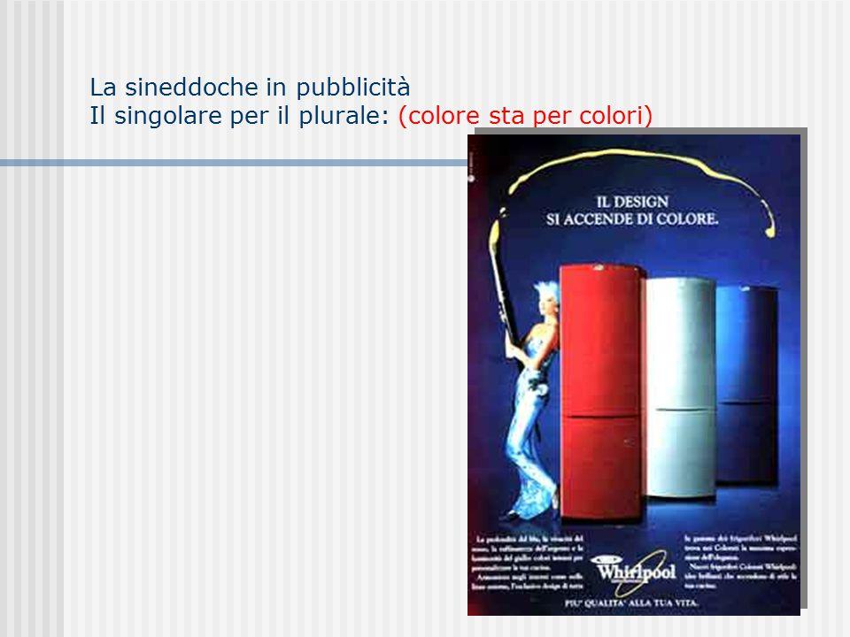 La sineddoche in pubblicità Il singolare per il plurale: (colore sta per colori)