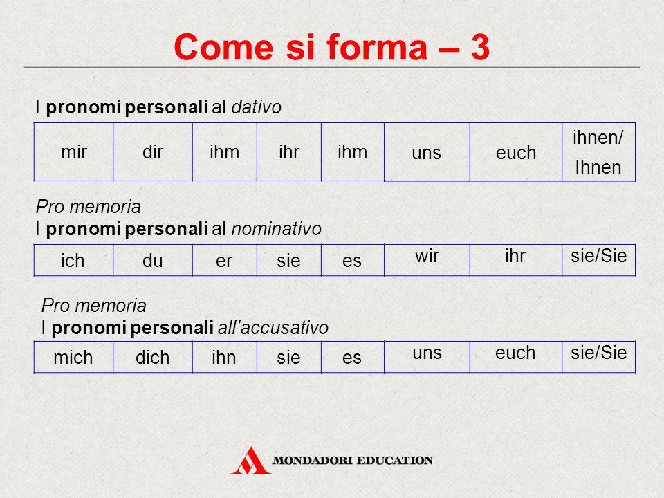 Come si forma – 3 I pronomi personali al dativo mir dir ihm ihr uns