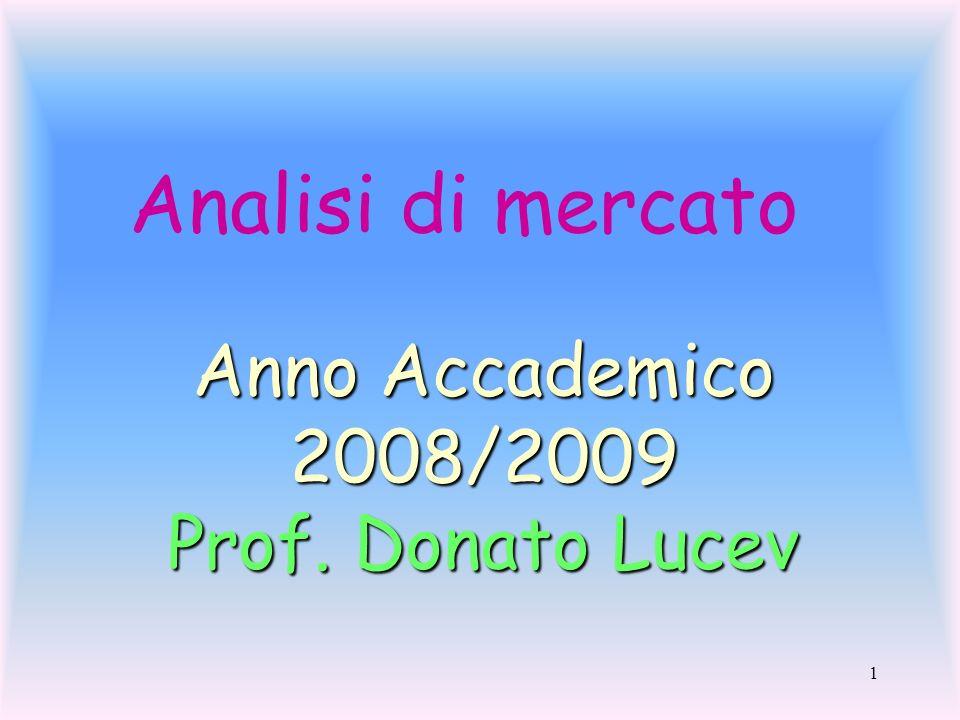 Analisi di mercato Anno Accademico 2008/2009 Prof. Donato Lucev