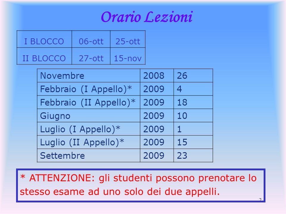 Orario Lezioni I BLOCCO. 06-ott. 25-ott. II BLOCCO. 27-ott. 15-nov. Novembre. 2008. 26. Febbraio (I Appello)*