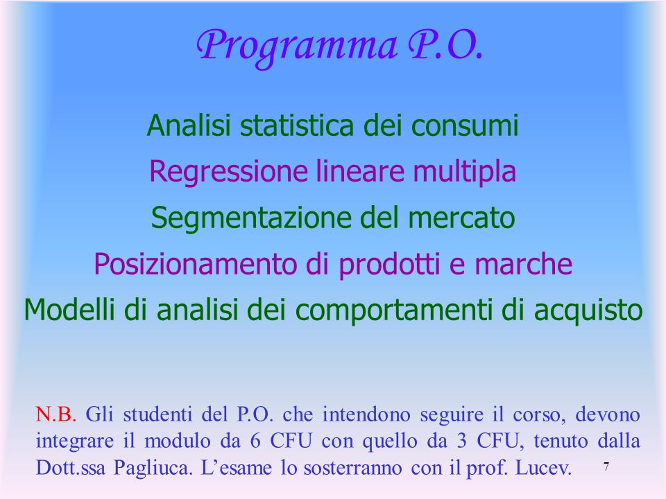 Programma P.O. Analisi statistica dei consumi