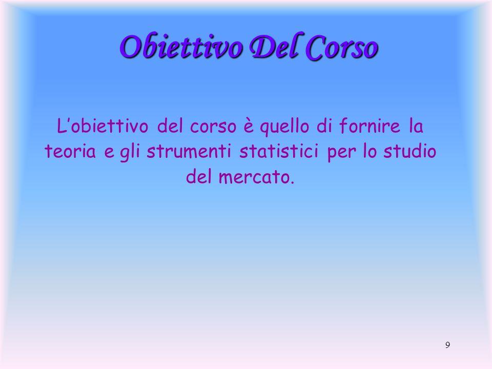 Obiettivo Del Corso L'obiettivo del corso è quello di fornire la teoria e gli strumenti statistici per lo studio del mercato.