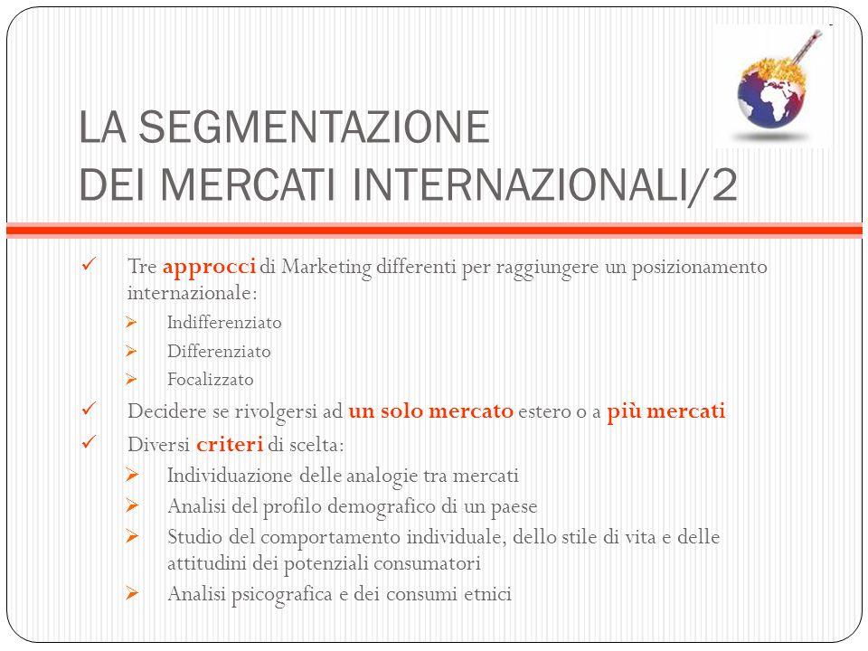 LA SEGMENTAZIONE DEI MERCATI INTERNAZIONALI/2