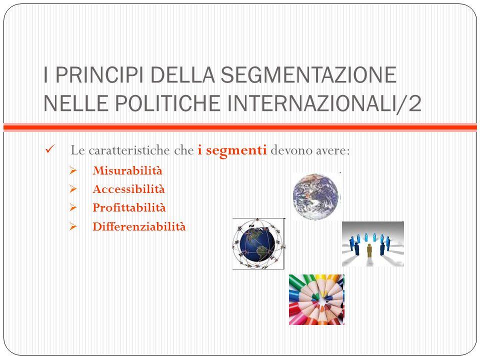 I PRINCIPI DELLA SEGMENTAZIONE NELLE POLITICHE INTERNAZIONALI/2