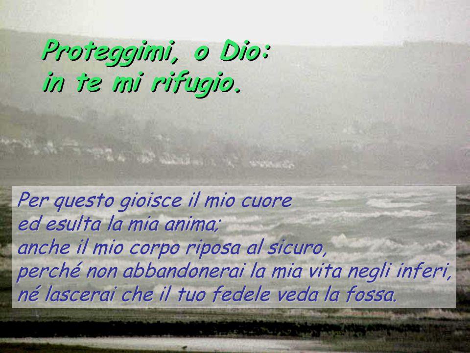 Proteggimi, o Dio: in te mi rifugio. Per questo gioisce il mio cuore