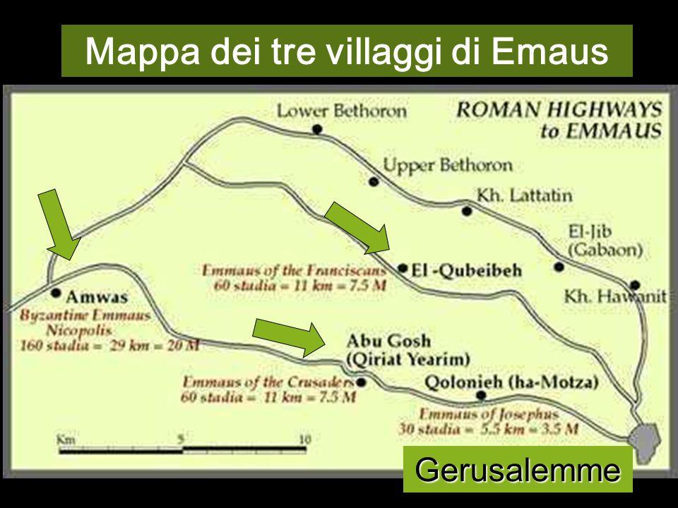Mappa dei tre villaggi di Emaus
