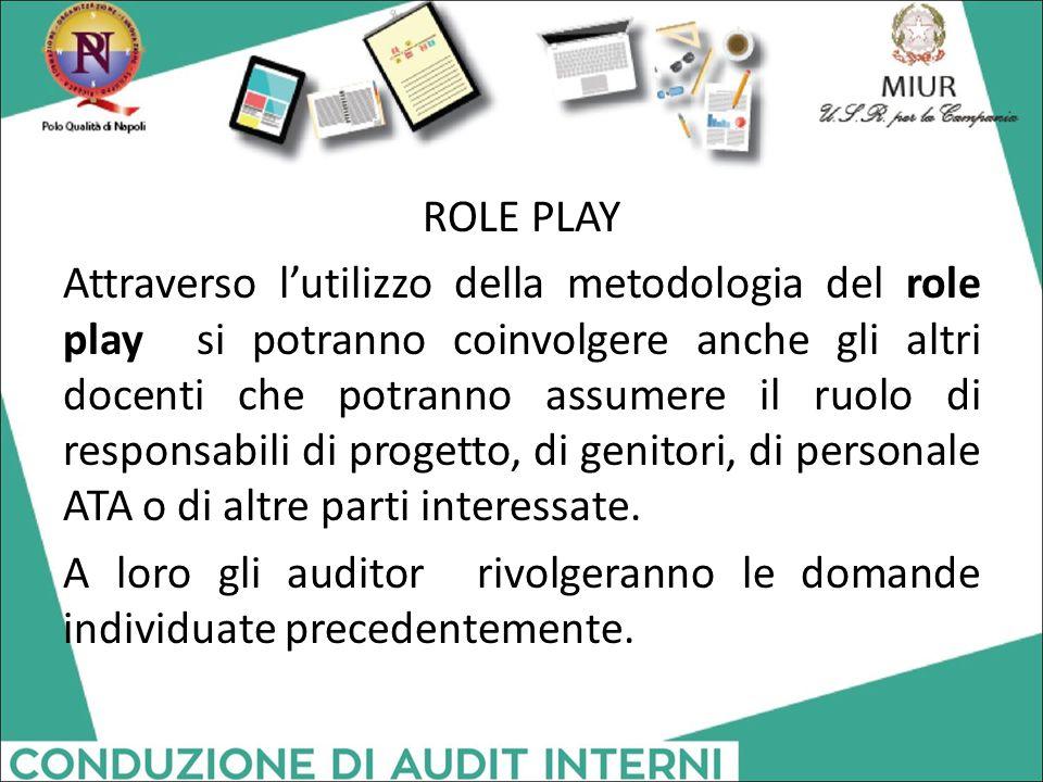 ROLE PLAY Attraverso l'utilizzo della metodologia del role play si potranno coinvolgere anche gli altri docenti che potranno assumere il ruolo di responsabili di progetto, di genitori, di personale ATA o di altre parti interessate.