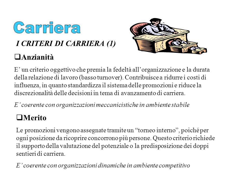Carriera I CRITERI DI CARRIERA (1) Anzianità Merito