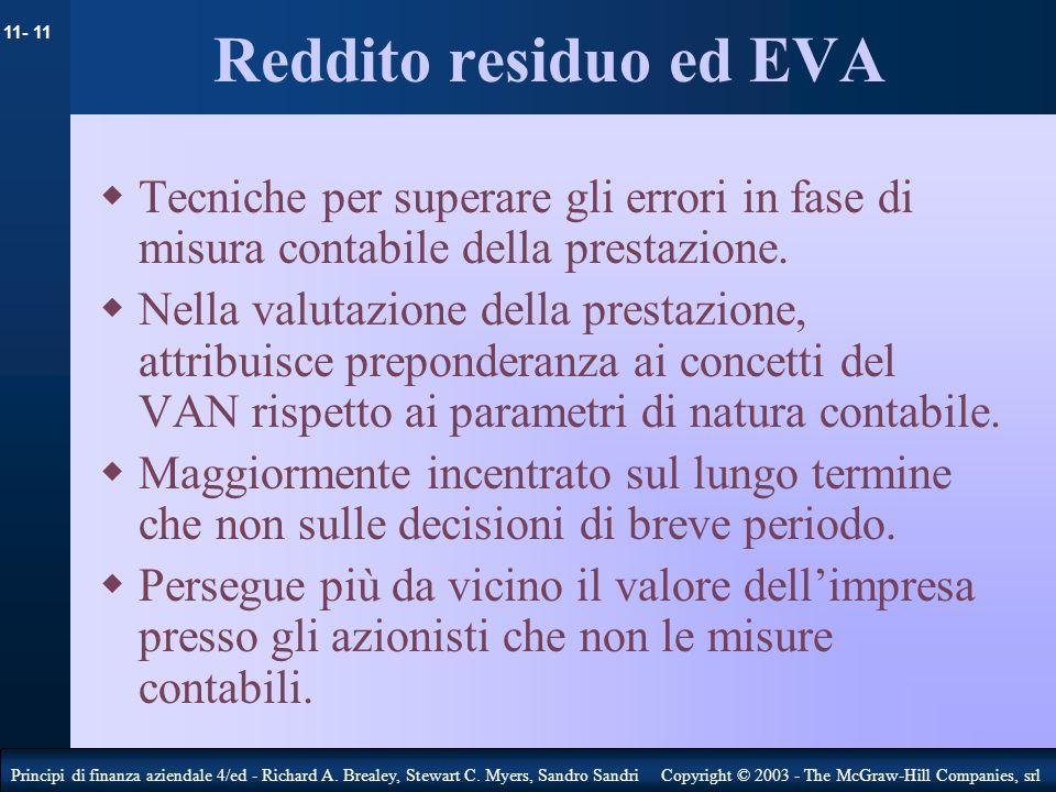 Reddito residuo ed EVA Tecniche per superare gli errori in fase di misura contabile della prestazione.