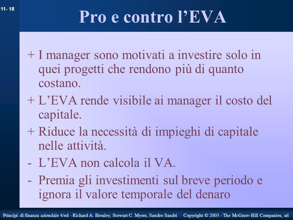 Pro e contro l'EVA+ I manager sono motivati a investire solo in quei progetti che rendono più di quanto costano.