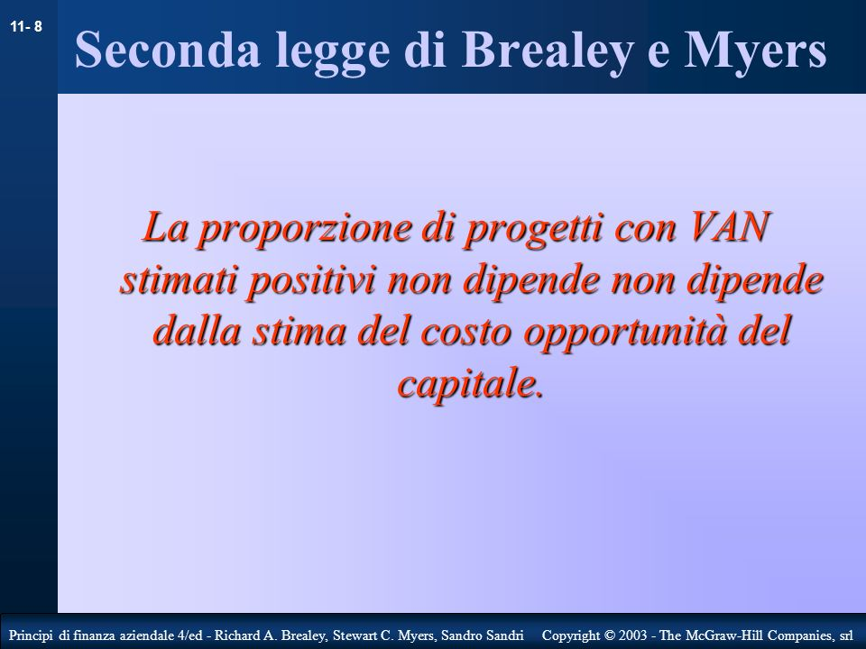 Seconda legge di Brealey e Myers