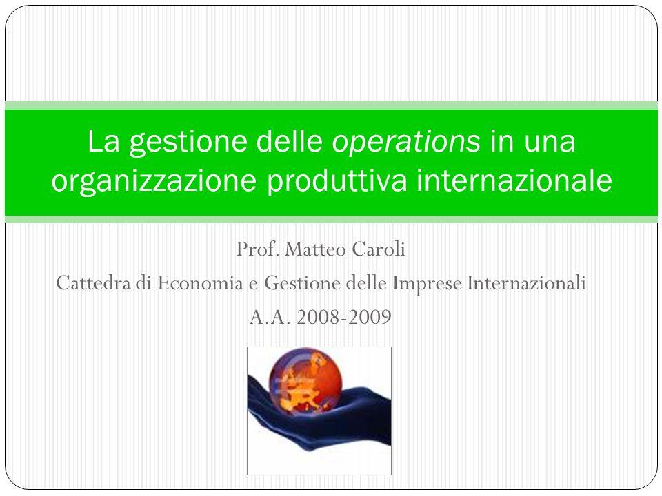 Cattedra di Economia e Gestione delle Imprese Internazionali