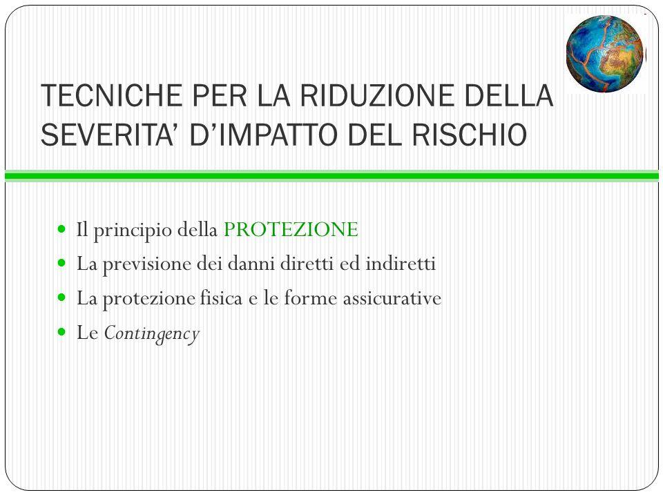 TECNICHE PER LA RIDUZIONE DELLA SEVERITA' D'IMPATTO DEL RISCHIO