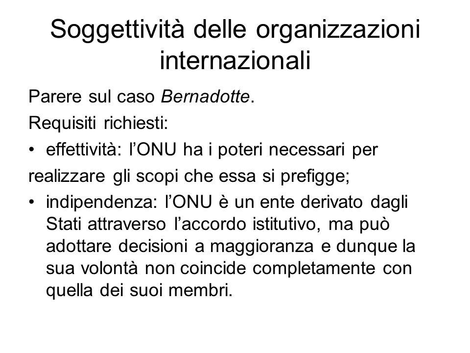 Soggettività delle organizzazioni internazionali