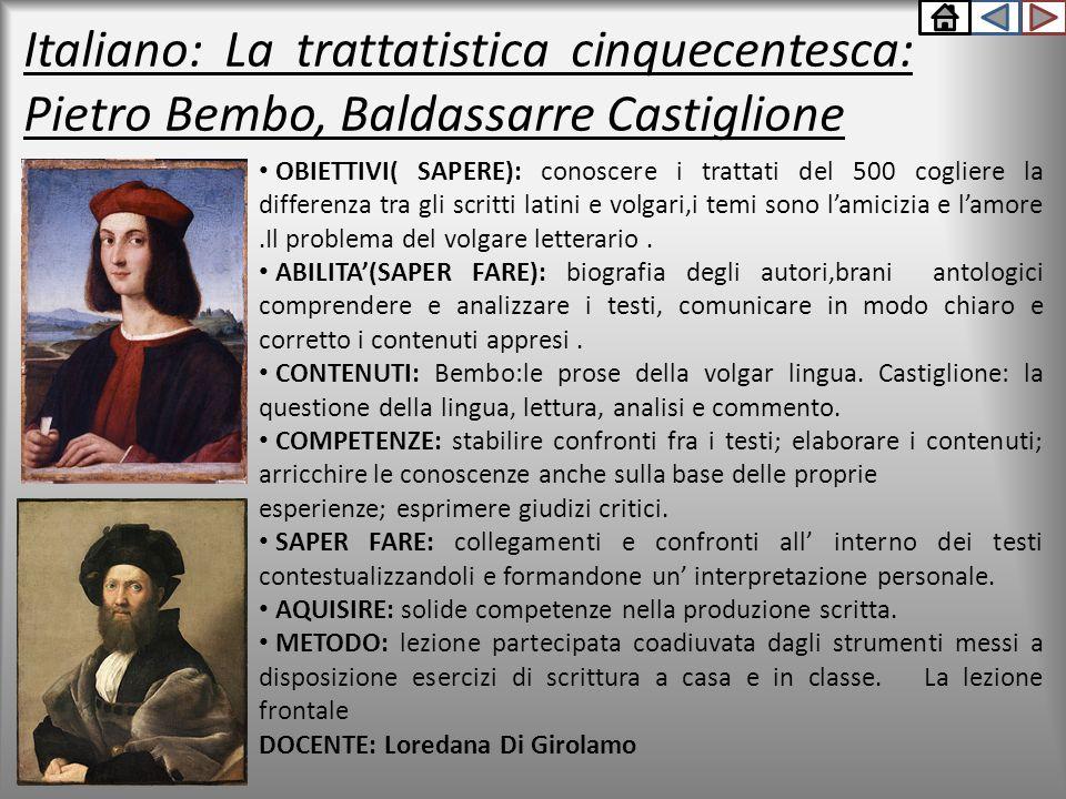Italiano: La trattatistica cinquecentesca: Pietro Bembo, Baldassarre Castiglione