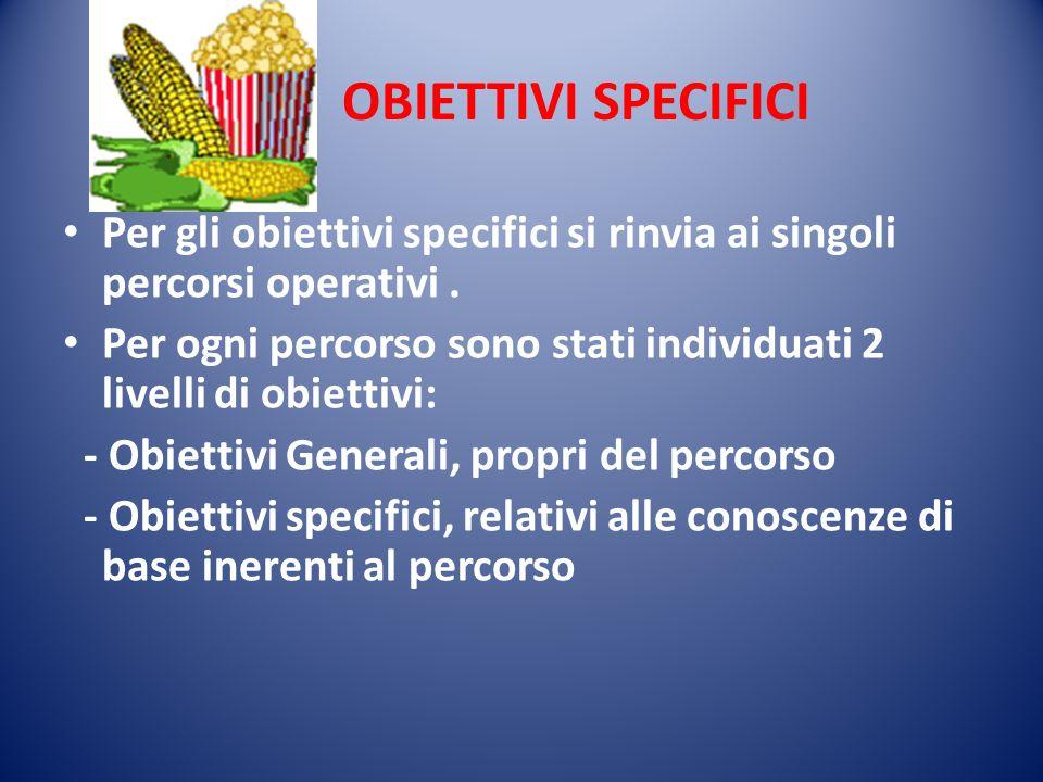 OBIETTIVI SPECIFICI Per gli obiettivi specifici si rinvia ai singoli percorsi operativi .