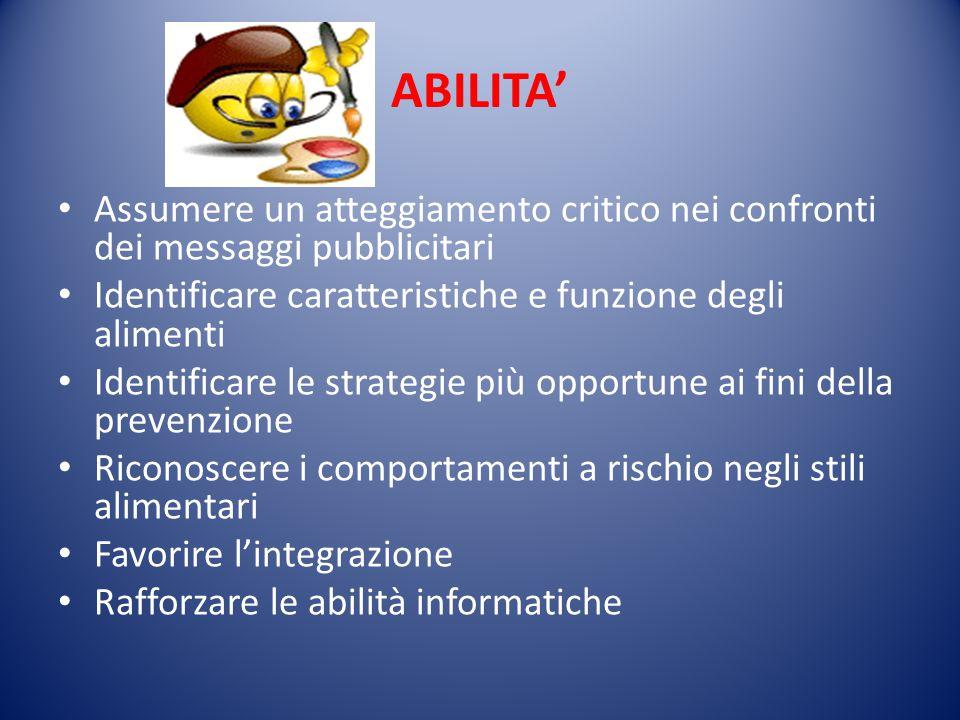 ABILITA' Assumere un atteggiamento critico nei confronti dei messaggi pubblicitari. Identificare caratteristiche e funzione degli alimenti.