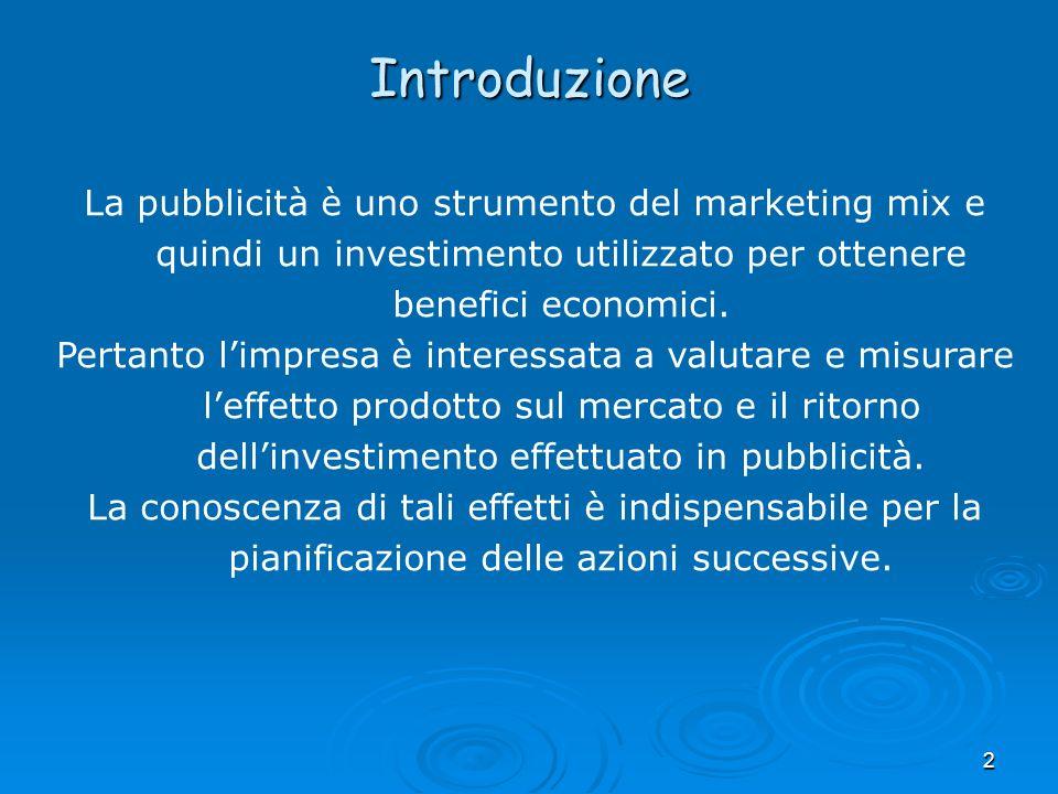 Introduzione La pubblicità è uno strumento del marketing mix e quindi un investimento utilizzato per ottenere benefici economici.