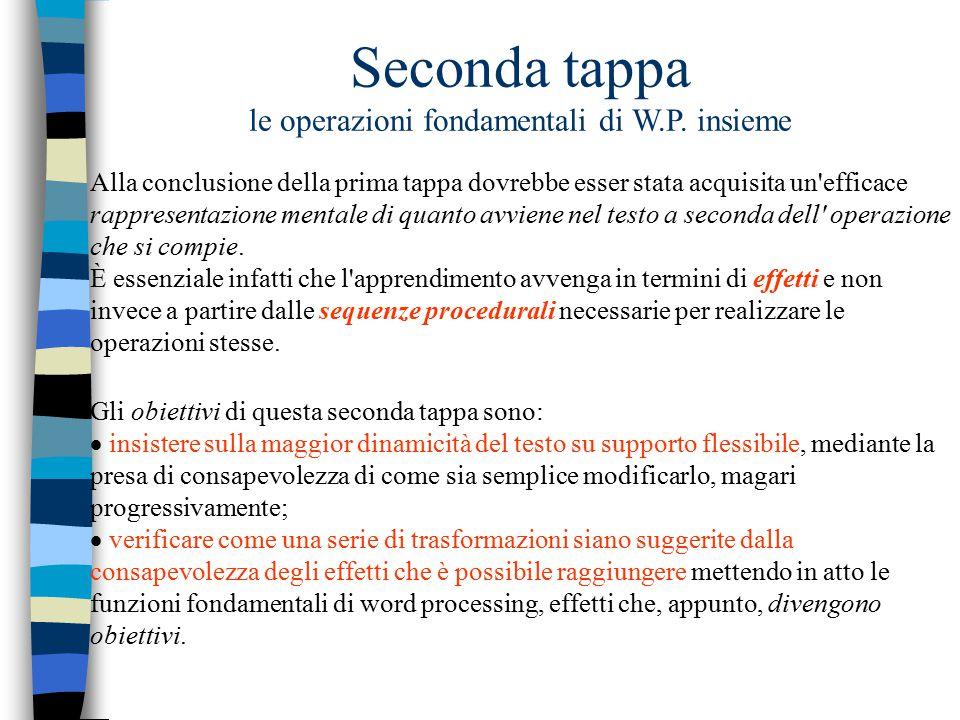 Seconda tappa le operazioni fondamentali di W.P. insieme